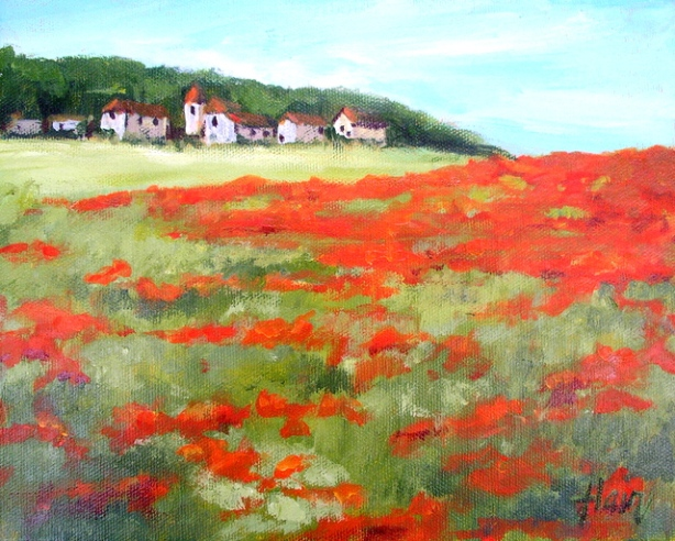 Poppy fields acrylic by A. Hair